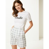 M&S Collection Pure Linen Checked Shorts