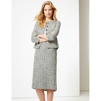 M&S Collection Cotton Blend Checked Pencil Skirt