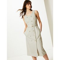 MandS Collection Linen Rich Double Button Front Midi Dress