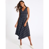 M&S Collection Checked Fit & Flare Midi Dress