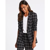 M&S Collection Checked Double Breasted Blazer