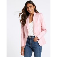 M&S Collection Cotton Rich Single Breasted Blazer
