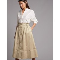 Autograph Supima Cotton Rich A-Line Midi Skirt
