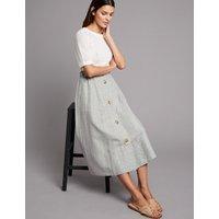 Autograph Linen Blend Textured A-Line Midi skirt