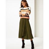 Per Una Satin Pleated Midi Skirt
