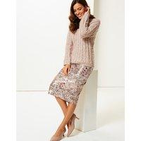 Per Una Floral Sequin Pencil Skirt