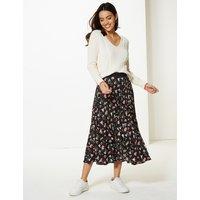 Per Una Floral Print Pleated Skirt