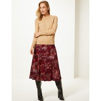 M&S Collection Floral Print Flocked A-Line Midi Skirt
