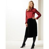 M&S Collection Velvet A-Line Midi Skirt
