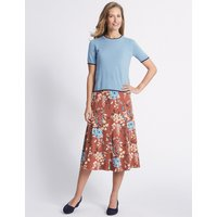 Classic Floral Print Flocked A-Line Midi Skirt