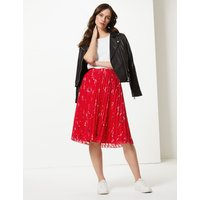 M&S Collection Floral Print Pleated Fit & Flare Midi Skirt