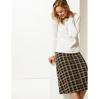 M&S Collection Checked Midi Skirt