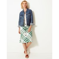 MandS Collection Pure Linen Checked A-Line Midi Skirt