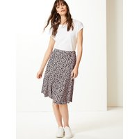 M&S Collection Floral Print Jersey Pleated Midi Skirt