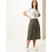 M&S Collection Button Detailed Fit & Flare Midi Skirt