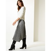 M&S Collection Checked Asymmetric Pleated Midi Skirt