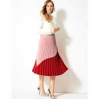 M&S Collection Colour Block Pleated Midi Skirt