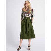 MandS Collection Cotton Rich A-Line Midi Skirt