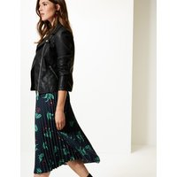 M&S Collection Floral Print Pleated Midi Skirt