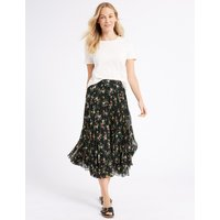 M&S Collection Floral Print Pleated A-Line Midi Skirt