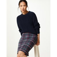 MandS Collection Jersey Checked Pencil Skirt