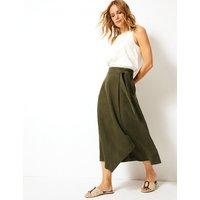 Per Una Linen Blend Wrap Midi Skirt