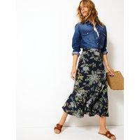 Per Una Floral Print Pretty Ruffle Midi Skirt