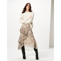 M&S Collection Floral Print Ruffle Midi Skirt