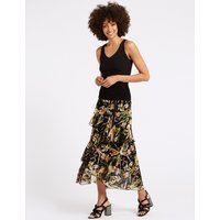 M&S Collection Floral Print Ruffle Wrap Midi Skirt