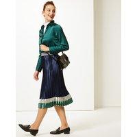 M&S Collection Colour Block Satin Pleated Midi Skirt