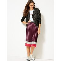 M&S Collection Colour Block Satin Pleated Midi Skirt
