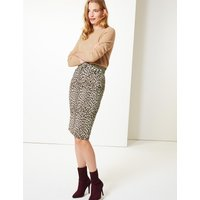 M&S Collection Brushed Animal Print Pencil Skirt