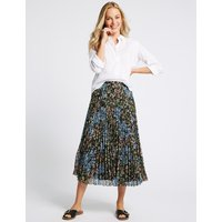 M&S Collection Floral Print Pleated Straight Hem Midi Skirt