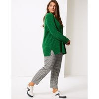 M&S Collection CURVE Checked Slim Leg Trousers