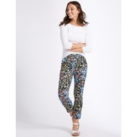 M&S Collection Cotton Rich Floral Print Slim Leg Trousers