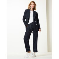 M&S Collection Contrast Stitch Straight 7/8th Leg Trousers