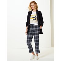 M&S Collection Checked Straight 7/8th Leg Trousers