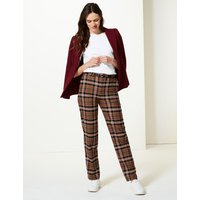 M&S Collection Checked Straight Leg Trousers