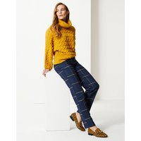 M&S Collection Relaxed Straight Leg Checked Trousers