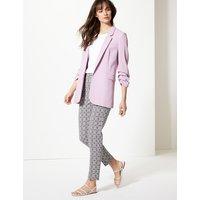 M&S Collection Jacquard Slim Leg Ankle Grazer Trousers