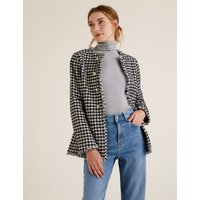 MandS Collection Tweed Straight Dogtooth Longline Blazer