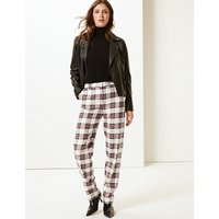 M&S Collection Relaxed Straight Leg Checked Trouser