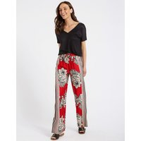 M&S Collection Floral Print Wide Leg Trousers