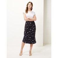 M&S Collection Floral Print Slip Midi Skirt