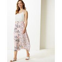 M&S Collection Floral Print Asymmetric Midi Skirt