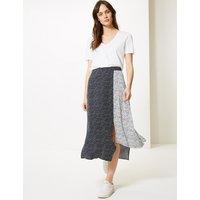 M&S Collection Polka Dot Asymmetric Midi Skirt