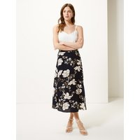 M&S Collection Floral Print Asymmetric Skirt