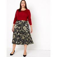 MandS Collection Floral Print Fit and Flare Midi Skirt