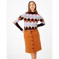 MandS Collection Button Through A Line Mini Skirt