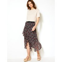 MandS Collection Floral Print Wrap Style Midi Skirt